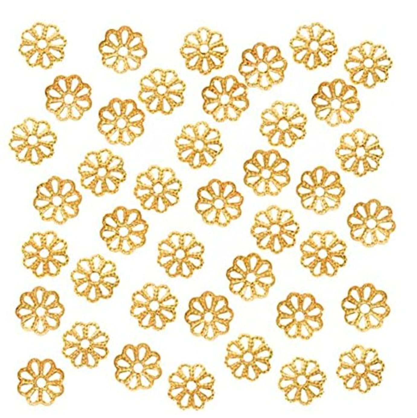 100pcs Top Quality Pretty Filigree Flower 10mm Bead Caps Gold Plated Brass for Jewelry Craft Making CF174-10