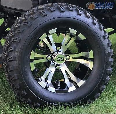 "12"" VAMPIRE Machined Golf Cart Wheels and All Terrain Golf Cart Tires Combo Set of 4"