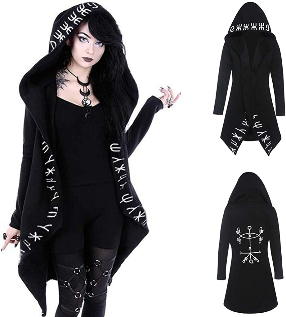 BAIGEE Women Cardigan Jacket Plus Size Hooded Coat Long Sleeve Punk Moon Print Black Cloak Coat