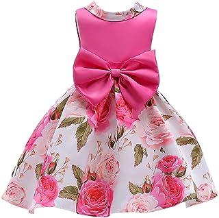 8912be35a6a135 YuanDian Bambine Bambini Fiori Vestiti Stampa Filato Netto Senza Maniche  Bow-Knot Compleanno Festa Principessa