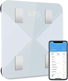 Bascula de Baño, Báscula Inteligente Bluetooth Mpow Báscula Grasa Corporal Digital,13 Mediciones Esenciales: BMI, Grasa Corporal ect, IOS / Android, Compatible con Apple Health, Google Fit, Fitbit App