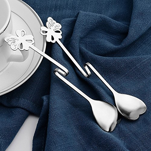 Gaddrt - Cuchara colgante (13 cm, acero inoxidable), diseño de mariposa