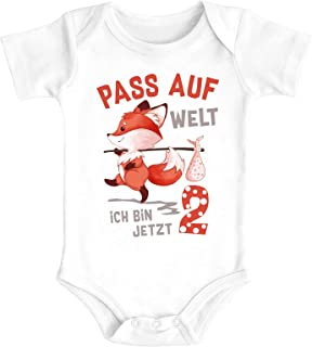 Babybody erster Geburtstag Pass auf Welt ich bin jetzt 1 Fuchs kurzarm Body