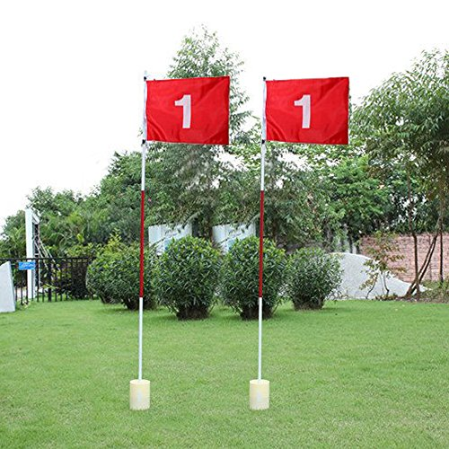 Boshen 2 Pack Practice Golf Putting Green Flags with Cup Backyard Golf Flagstick