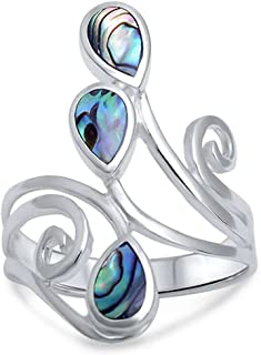 Blue Apple Co. Fashion Teardrop Pear Swirl Spiral Ring Pear Simulated Black Onyx 925 Sterling Silver Choose Color