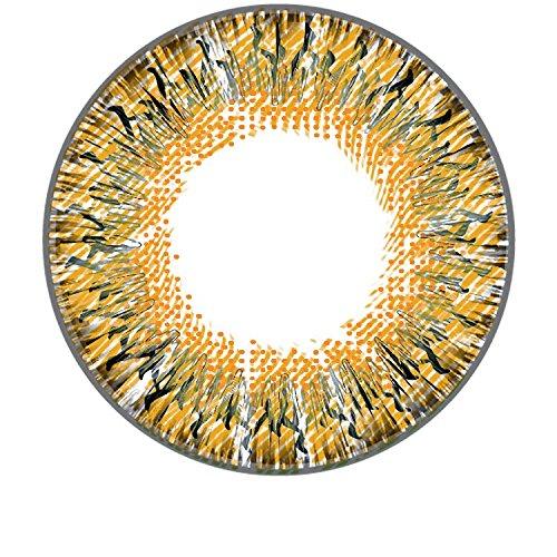 Matlens - GEOLICA Farbige Kontaktlinsen mit Stärke braun brown Euro Lady GS-A14 2 Linsen -2.75 dpt. und gratis 1 Linsenbehälter 1 Pflegemittel 50ml