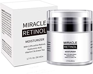 Retinol Cream Moisturizer for Face,2.5% Active Retinol,Hyaluronic Acid,Vitamin E,Green Tea and Jojoba Oil,Fights the Appearance of Wrinkles, Fine Lines-1.7 OZ
