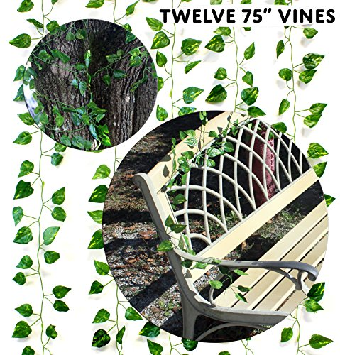 Artificial Vines 75 Feet Total (Value 12-Pack); Simulated Climbing Ivy Plants for Garland or Greenery at Party, Patio or Yard 75 Feet