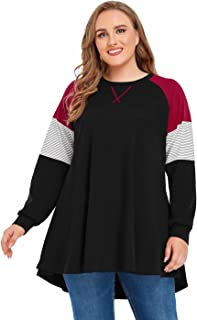JollieLovin Crewneck Lightweight Sweatshirts for Women Plus Size Color Block Pullover Tops Long Sleeve Raglan Shirt