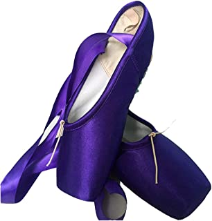 Ballet Dance Shoes Colorful Blue Red White Black Pink Pointe Shoes with Toe Pads