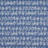Fabulous Fabrics Jeansstoff Stretch Eulen – Jeansblau —