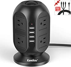 Keedox Power Strip Tower Surge Protector, 8 Outlet 4 USB Ports Electric Charging Station with USB Charging Cable, Multi Plug Outlet with 10Ft Long Extension Cord