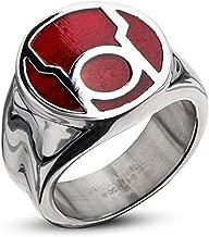 DC Comics Red Lantern Corps Stainless Steel Red Enamel Blackest Night Rage Ring