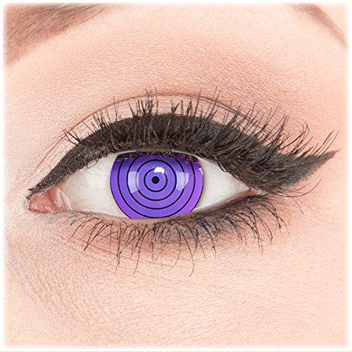 Farbige Kontaktlinsen zu Fasching Karneval Halloween 1 Paar Crazy Fun violette 'Violet Rinnegan' mit Behälter in Topqualität von 'Glamlens' ohne Stärke