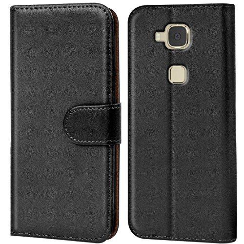 Verco Huawei GX8 Hülle, Handyhülle für Huawei GX8 > G8 Tasche PU Leder Flip Hülle Brieftasche - Schwarz