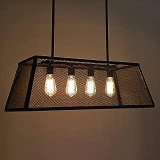 Baycher LOFT Retro Vintage Net Yarn Iron Chandelier Rectangular 4 Lights Industrial Style Matte Black Iron Cage Pendant Lamp