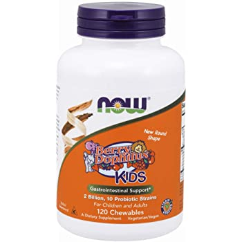 NOW Supplements, BerryDophilus with 2 Billion, 10 Probiotic Strains, Xylitol Sweetened, Strain Verified, 120 Chewables