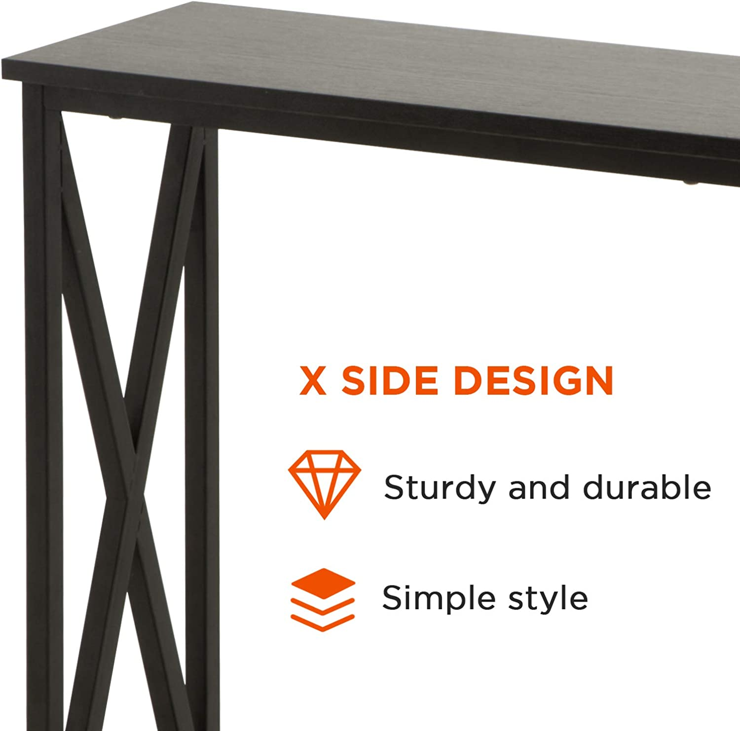 oneinmil Console Table with 2-Tier Storage Shelf , X Frame Sofa Table for Entryway Living Room Hallway,Black