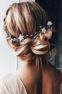 FXmimior - Fascia per capelli a forma di fiore, accessorio per capelli color argento, accessorio per capelli da sposa, tia...