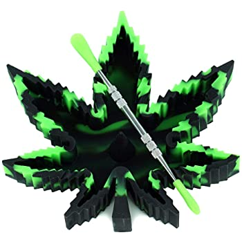 X-Value Black/Green Silicone Leaf Ashtray Unbreakable Decorative Tray Colorful Holder for Outside/Indoor/Home Decor