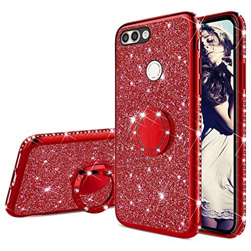 Misstars Glitzer Hülle für Honor 9 Lite Rot, Bling Strass Diamant Weiche TPU Silikon Handyhülle Anti-Rutsch Kratzfest Schutzhülle mit 360 Grad Ring Ständer für Huawei Honor 9 Lite/P Smart/Enjoy 7S