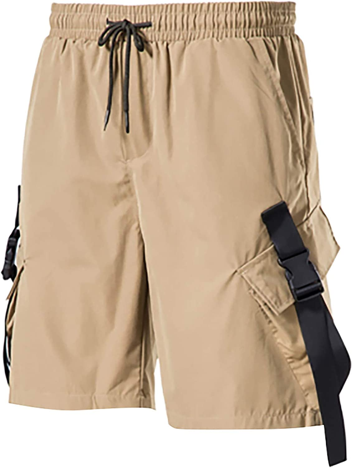 CLEEYYS Shorts for Men with Pockets Mens Cargo Shorts Elastic Waist with Drawstring Summer Loose Fit