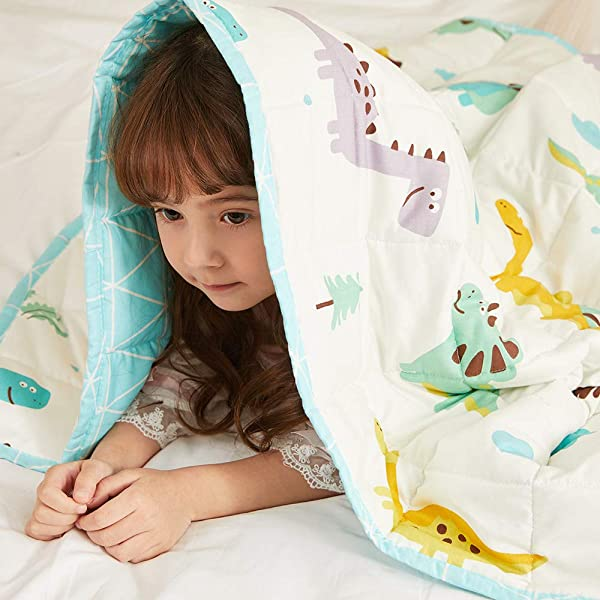 Hiseeme Cooling Weighted Blanket For Kids 7lbs 41 X60 Single Size Small Pockets Breathable Cotton With Glass Beads Dinosaur