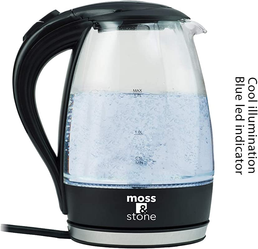 Moss Stone Electric Glass Kettle With Speed Boil Tech I 1 7 Liter Capacity I Cordless With LED Illumination I Borosilicate I BPA Free I Auto Shut Off I Boil Dry Protection 1500 Watt