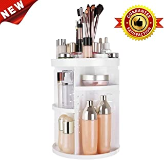 Makeup Organizer Rotaing Cosmetic 360 Storage Box,DIY Adjustable Makeup Carousel Spinning Holder Storage Rack.Large Capacity, Fits Toner, Creams,Lipsticks and More (light white)