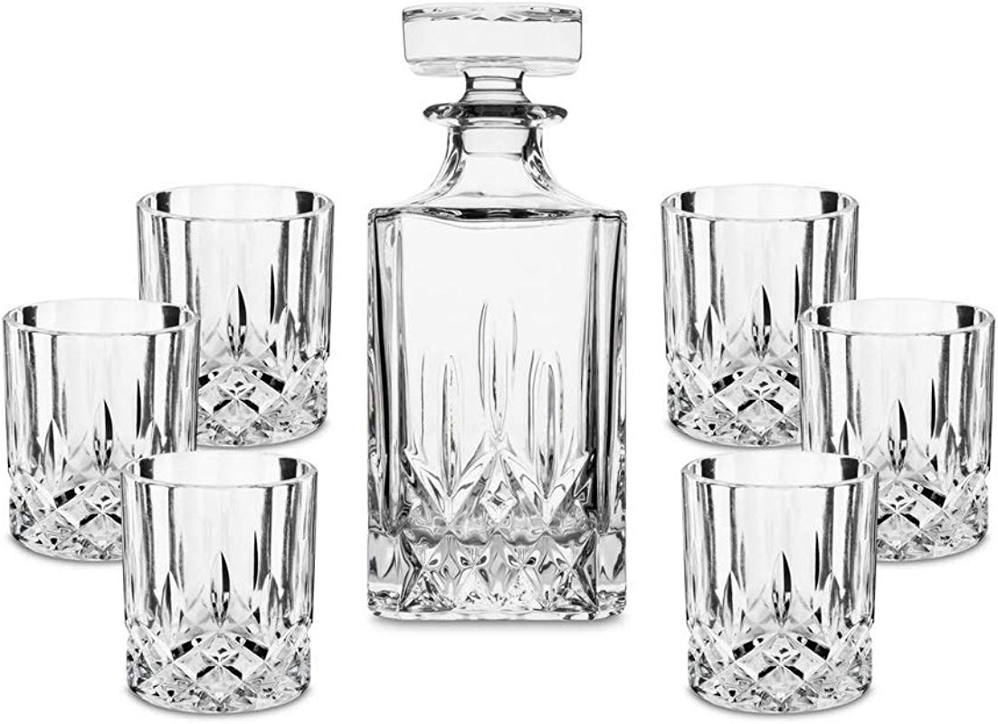 LANFULA 7 Piece Crystal Whiskey Decanter Set Premium Quality Liquor Decanter With 6 Scotch Glasses For Bourbon Irish Whisky And Alcohol Ideal Gift For Wedding Anniversary