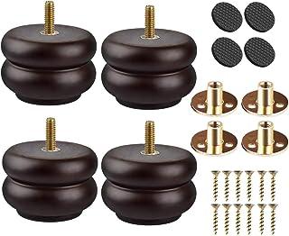 Patas de madera maciza de 3 pulgadas 4 patas de madera de nogal redondo con roscas de 5/16 pulgadas placa de montaje y t...