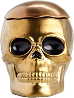 World Market Gold Skull Ceramic Cookie Jar - Keep Your Cookies and Baked Goods Fresh with an Airtight Lid - Handy Container - Vintage Retro Decor and Collector Gift Idea - Rustic Kitchen Accessory