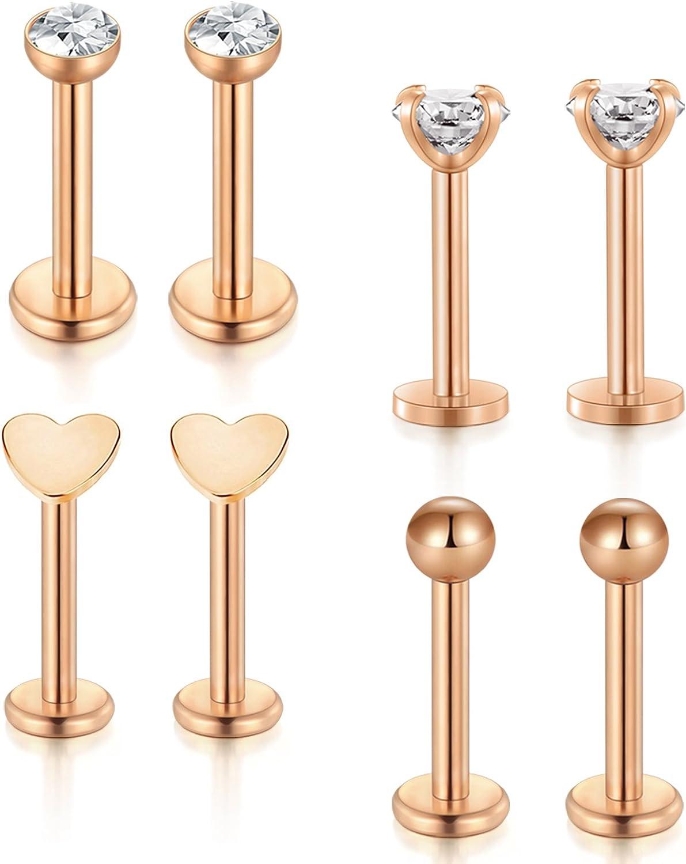 Incaton Forward Helix Hewelry Earring,16G Gold Cartilage Tragus Stud Earrings Lip Body Jewelry Piercing Ring