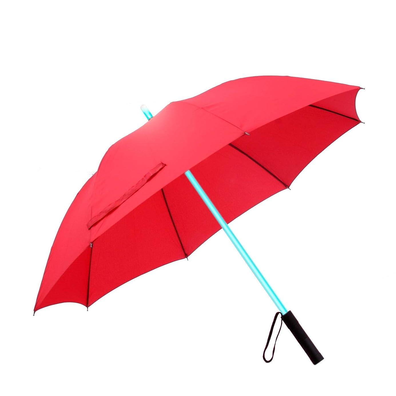 Smiti 光る傘 レインボー LED 光るシャフト 長傘 レッド