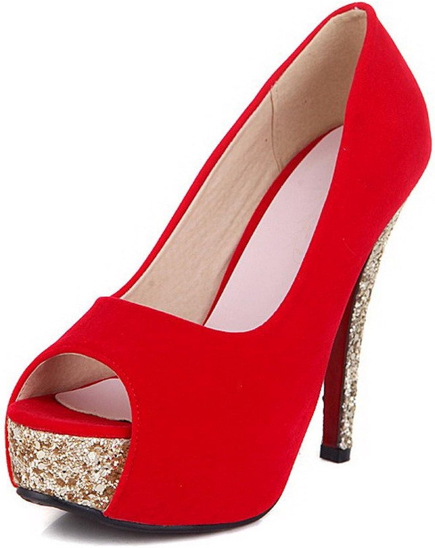 AmoonyFashion Women's Spikes-Stilettos Solid Pull On Peep Toe Sandals