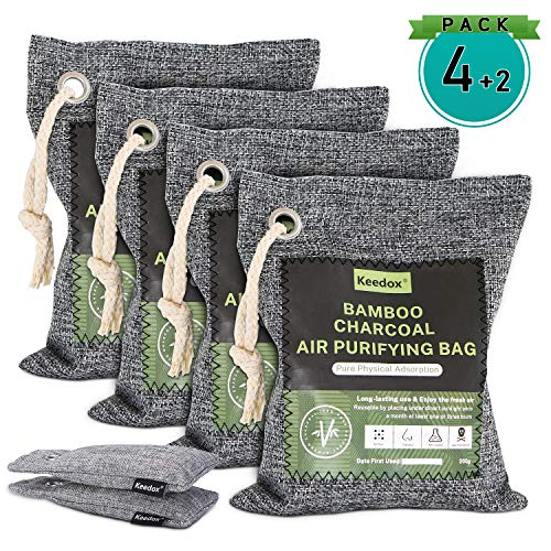Keedox Air Purifying Bags (6-Pack Variety), Activated Charcoal Odor Absorber, Natural Air Refresher Removes Odors and Moisture, Nature Fresh Air Purifier Bags for Car, Fridge, Shoes