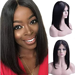 OYM Hair Short Bob Lace Frontal Wig Human Hair Brazilian Shoulder Black 13X4 Lace Front Bob Cut Wig Pre Plucked Natural Hairline 150% Density Virgin Wigs for Black Women 12 Inch