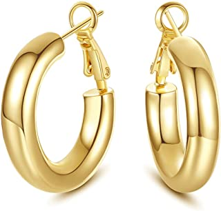 SHOWNII 14k Gold Plated Chunky Tube Hoop Earrings for Women