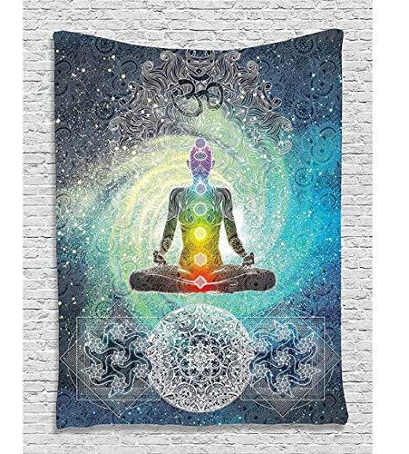 DJSK Tapestrydecor Mandala Yoga Zen Meditación de Pared Batik Hippie Sign Blacklight Reactivo Colgante de Pared Cortina Ventana 150 * 200Cm