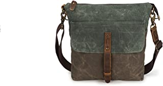 Men's Crossbody Oil Wax Canvas Shoulder Bag Retro Canvas with Leather Waterproof Messenger Bag Male Cloth Bag (Color : Bronze, Size : S)