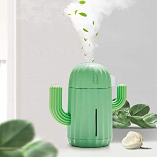YINGJEE Mini Humidifier Single Room Humidifiers with Night Light Portable Cactus Air humidifier for for Yoga Office spa Be...