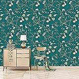 Papel Pintado Pared Moderno,Papel Pintado Pared Dormitorio Flor árboles Pájaros Papel Pintado Para Sala de Estar Cocina, 5,3 m²-Verde