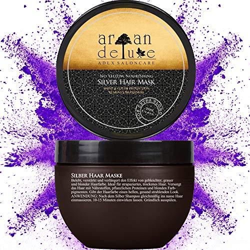 Argan Deluxe Silber-Haarmaske in Friseur-Qualität 250 ml - Haar-Kur zu Silber-Shampoo für extra seidige Strahlkraft