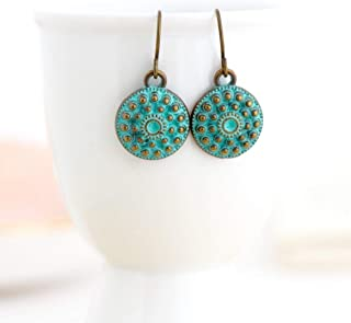Ethnic Round Green Metal Earrings