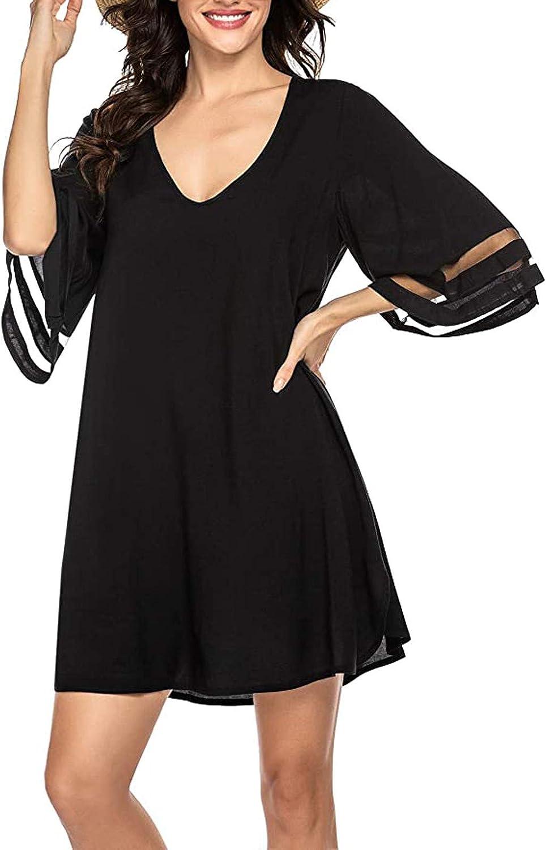 Aritone Summer Dresses for Women, Women's Swimsuit Cover Ups Shirt Beach Print Summer Bathing Suit Beach Dress Black