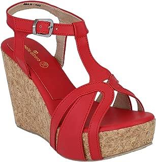 pelle albero Womens Red Wedges Heel Sandals