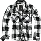 Brandit Comprobado Camiseta de Hombre Franela Camisa - Blanco-Negro, L