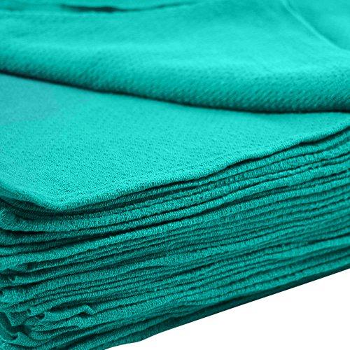 MIMAATEX Huck Towels -50 Piece Pack -16'x 24'- New 100% Cotton Super Absorbent-Lint Free (Green)