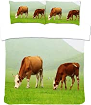 Grazing Cattle Duvet Cover ,3Pcs Bedding Set Natural Breathable,Pillow Cases Durable Easy Care, 3D Printing Twin 200X200Cm(78.7X78.7In)