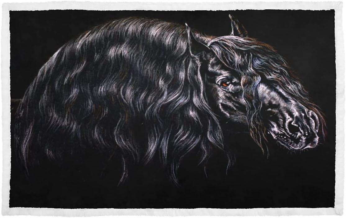 Rabbit Blanket for Cage Black Horse Mane Portrait On Long Bargain Genuine Free Shipping Blanke